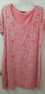 Tiana B XXL pink dress with flowered lace